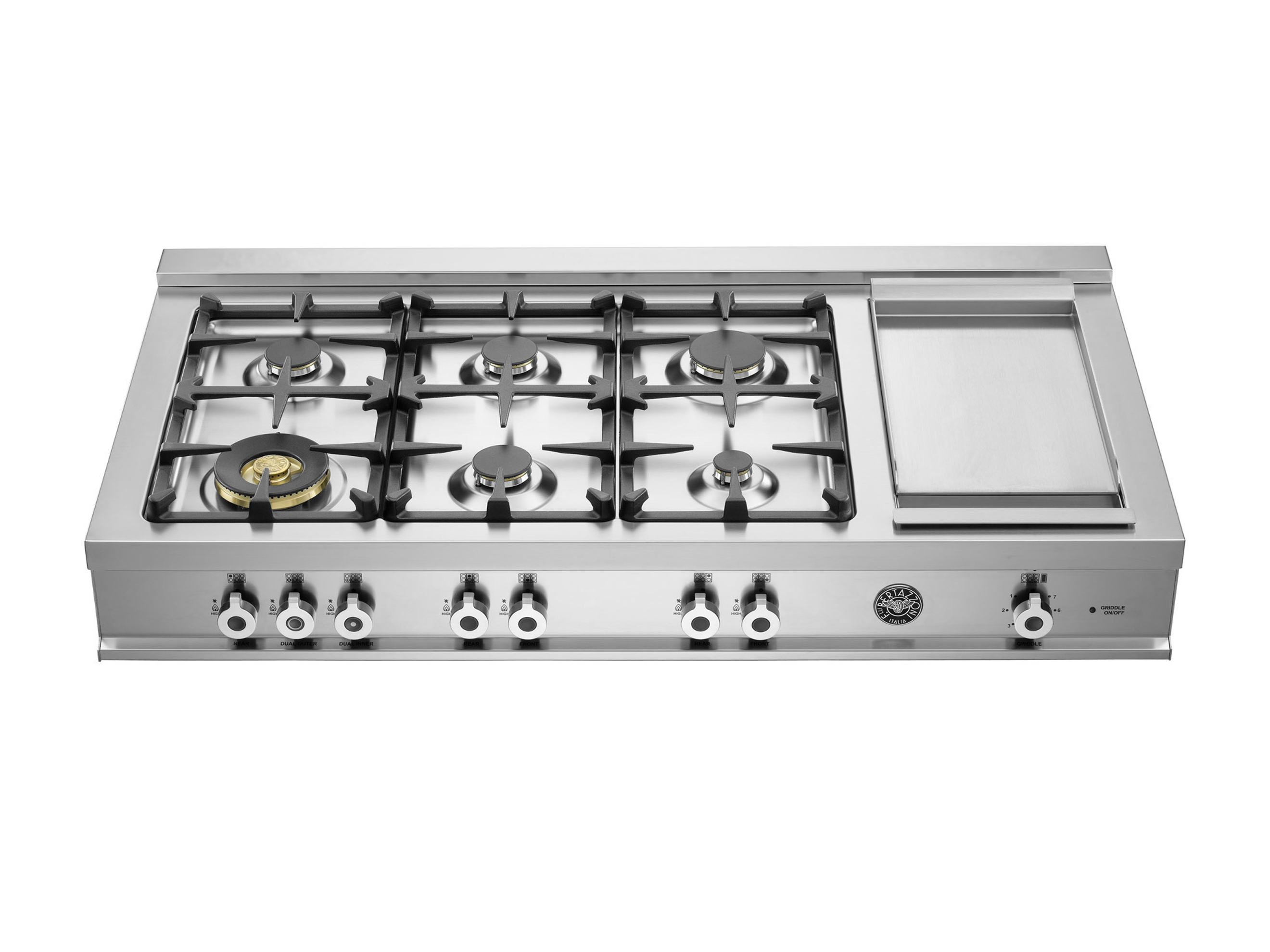 122 cm Range Top 6-burner and Griddle | Bertazzoni - Stainless